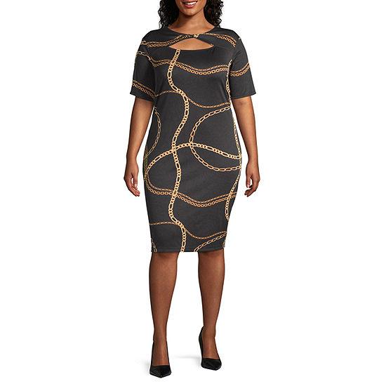 Bold Elements 3/4 Sleeve Twist Neck Bodycon Dress -Plus