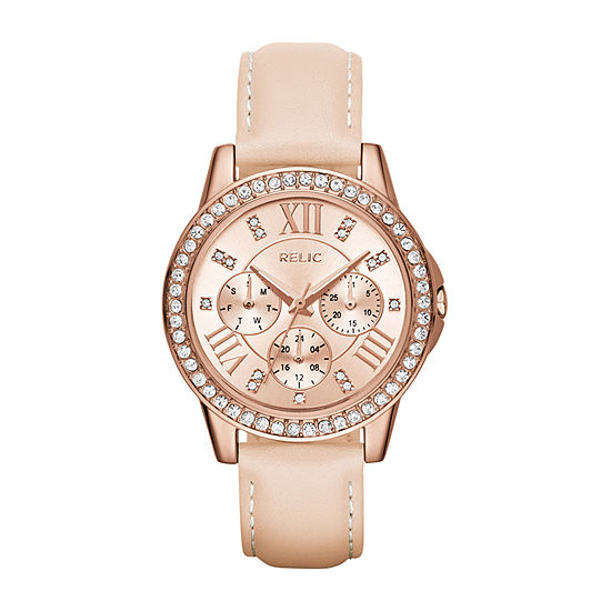 Relic By Fossil Womens Multi-Function Leather Bracelet Watch-Zr15907