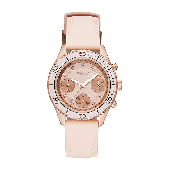 Relic By Fossil Womens Pink Strap Watch-Zr12556