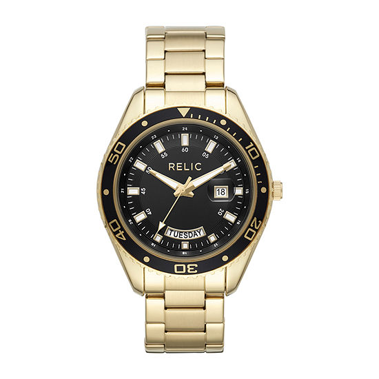 Relic By Fossil Taran Mens Gold Tone Stainless Steel Bracelet Watch-Zr12594