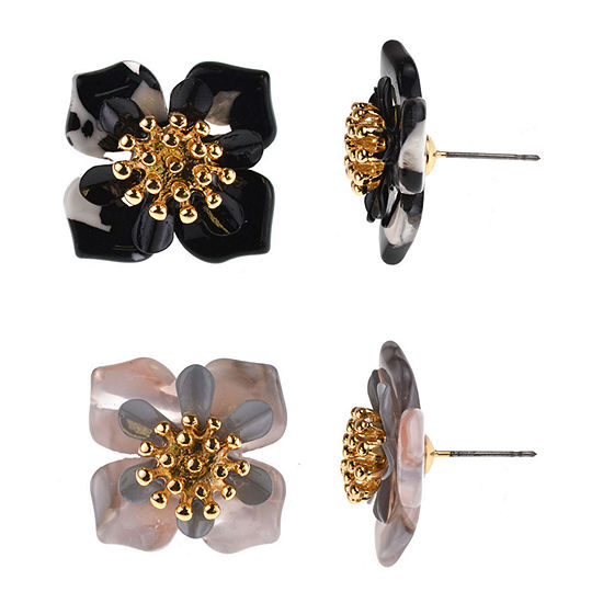 Bijoux Bar 2 Pair Black Flower Earring Set