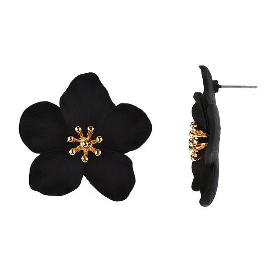 Bijoux Bar Black 1 1/2 Inch Flower Stud Earrings