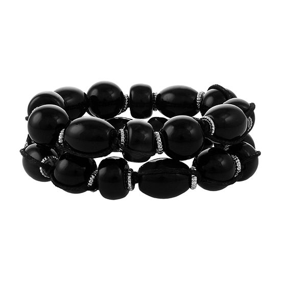 Erica Lyons 2-pc. Black Beaded Bracelet