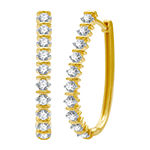 1 CT. T.W. Genuine Diamond 10K Gold 27.8mm Hoop Earrings