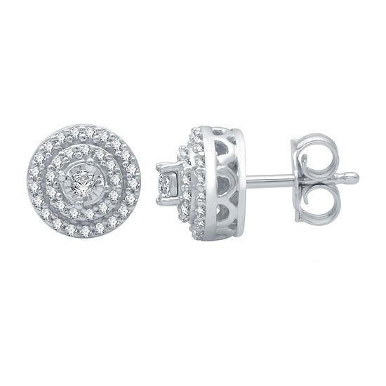 1/4 CT. T.W. Genuine Diamond 10K White Gold 7.6mm Stud Earrings