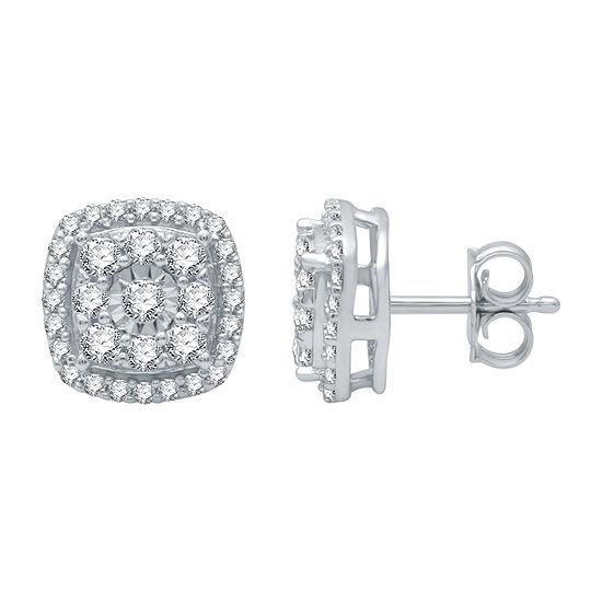 1/2 CT. T.W. Genuine Diamond 10K White Gold 8.4mm Stud Earrings