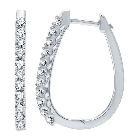 1/2 CT. T.W. Genuine Diamond 10K White Gold 22mm Hoop Earrings