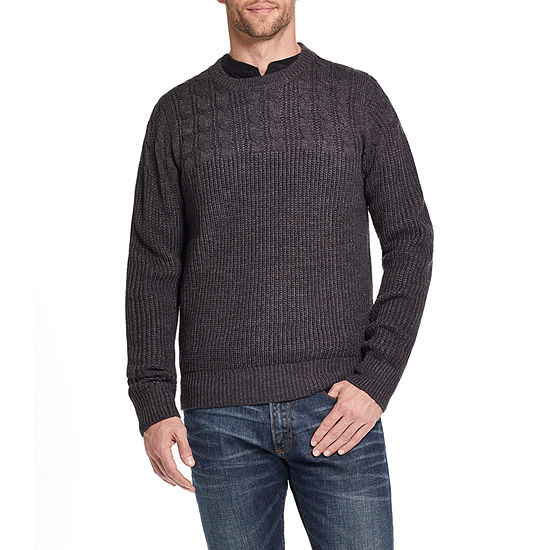 American Threads Crew Neck Long Sleeve Knit Pullover Sweater