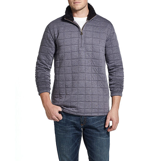 American Threads Quilted Sherpa Collar Mens Long Sleeve Quarter-Zip Pullover