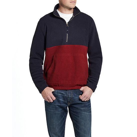American Threads Crushed Fleece Mens Long Sleeve Quarter-Zip Pullover