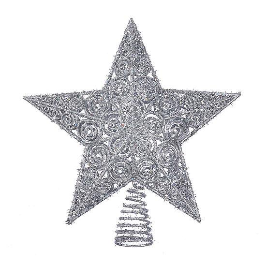 Kurt Adler 12-Inch Silver Glitter Star Christmas Tree Topper