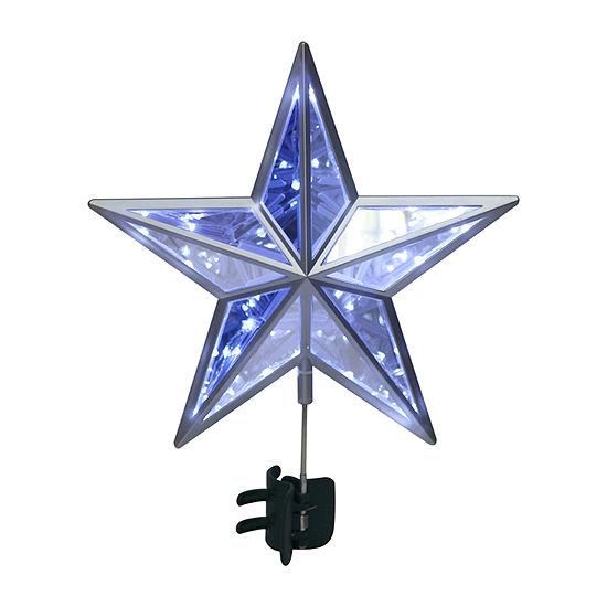 Kurt Adler 11-Inch Led Twinkle Cool White Mirror Star Tree Topper