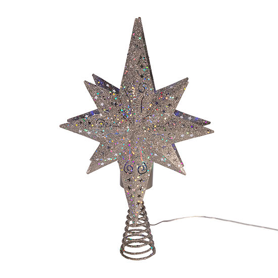Kurt Adler 14-Inch Projection Iron Top Led Silver Star Tree Topper
