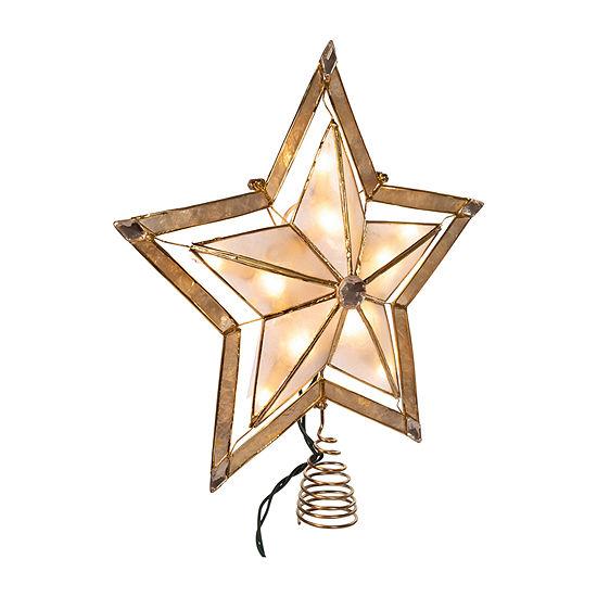 Kurt Adler Kurt Adler 10-Inch 5-Point Large Star With Smoke Capiz Treetop Star Tree Topper