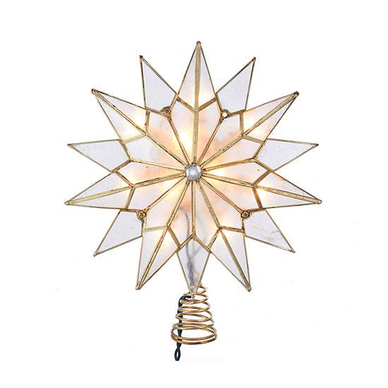 Kurt Adler Kurt Adler 10-Light Capiz Double Tip Star With Center Gem Treetop Star Tree Topper
