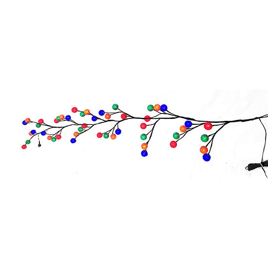 Kurt Adler Multicolor Cotton Ball Pre-Lit Indoor Christmas Garland