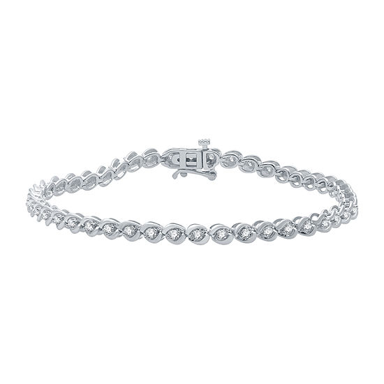 1 CT. T.W. Genuine Diamond 10K White Gold 7.5 Inch Tennis Bracelet
