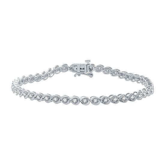 1 CT. T.W. Genuine Diamond 10K White Gold 7.5 Inch Tennis Bracelet