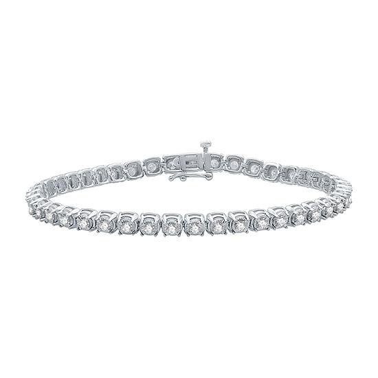 10K White Gold 7.5 Inch Solid Link Bracelet