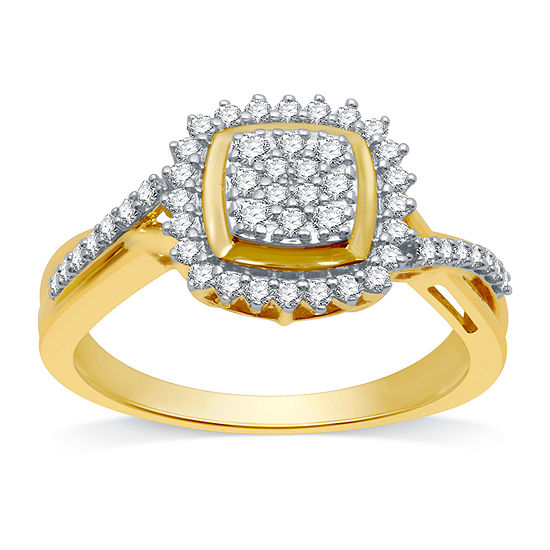 Womens 1/3 CT. T.W. Genuine Diamond 10K Gold Cocktail Ring