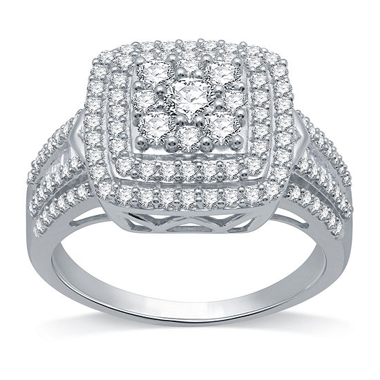 Womens 1 CT. T.W. Genuine Diamond 10K White Gold Cocktail Ring