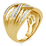Womens 1/2 CT. T.W. Genuine Diamond 14K Gold Over Silver Cocktail Ring