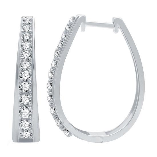 1 CT. T.W. Genuine Diamond Sterling Silver 25.2mm Hoop Earrings