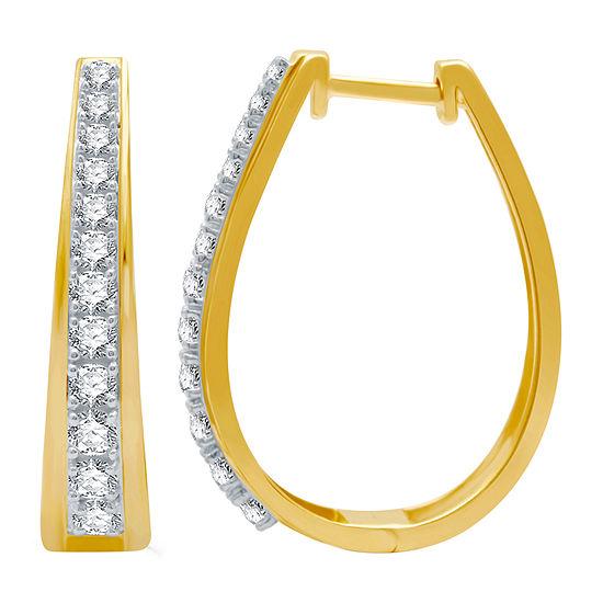 1 CT. T.W. Genuine Diamond 14K Gold Over Silver 25.2mm Hoop Earrings