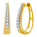 1/2 CT. T.W. Genuine Diamond 14K Gold Over Silver 22.2mm Hoop Earrings