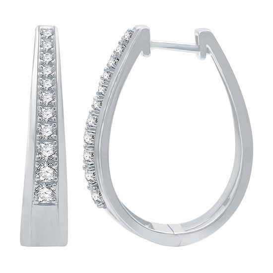 1/2 CT. T.W. Genuine Diamond Sterling Silver 22.2mm Hoop Earrings