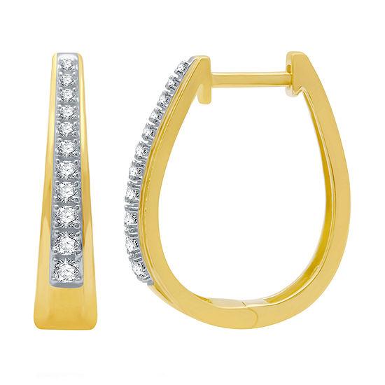 1/4 CT. T.W. Genuine Diamond 14K Gold Over Silver 19mm Hoop Earrings