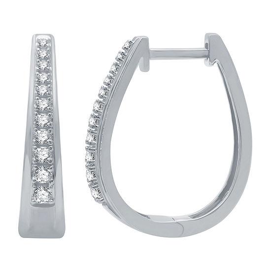 1/4 CT. T.W. Genuine Diamond Sterling Silver 19mm Hoop Earrings