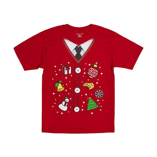 Mens Crew Neck Short Sleeve Christmas Graphic T-Shirt