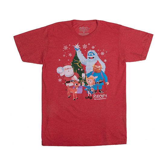Mens Crew Neck Short Sleeve Rudolph Christmas Graphic T-Shirt