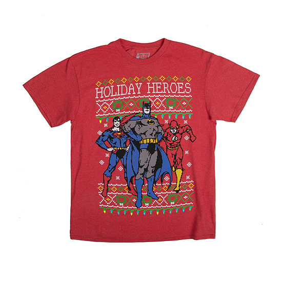 Mens Crew Neck Short Sleeve Christmas DC Heroes Graphic T-Shirt