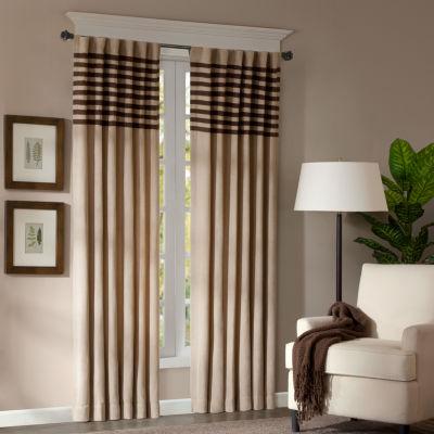 Dune 2-Pack Two-Tone Stripe Rod-Pocket/Back-Tab Curtain Panels