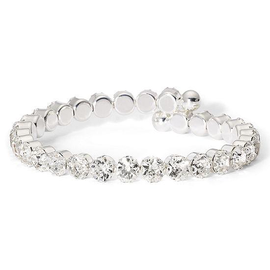 Vieste Silver Tone Rhinestone Coil Bracelet