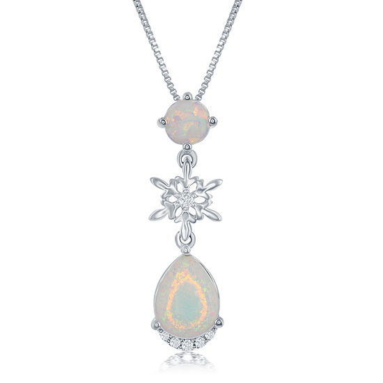 "Enchanted Disney Fine Jewelry Lab Created Opal & Diamond Accent ""Frozen"" Pendant Necklace In Sterling Silver"