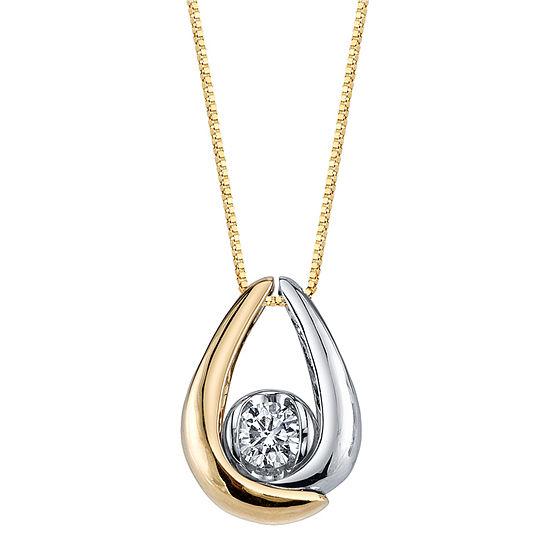 Womens 1/8 CT. T.W. Genuine White Diamond 10K Gold Pendant