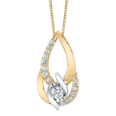 Womens 3/8 CT. T.W. Genuine White Diamond 14K Gold Pendant