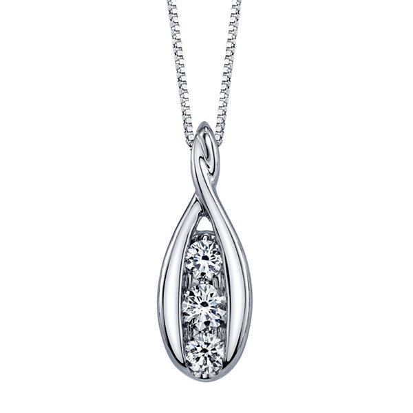 1/3 CT. T.W. White Diamond Round 14K Gold Pendant