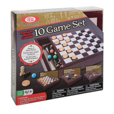 Ideal Premium Wood Cabinet 10 Game Set Board Game