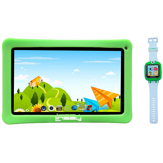 """LINSAY 7"""" Quad-Core 2GB RAM 16GB Android 9.0 Pie Tablet with Green Kids Defender Case and Green Kids Smart Watch"""