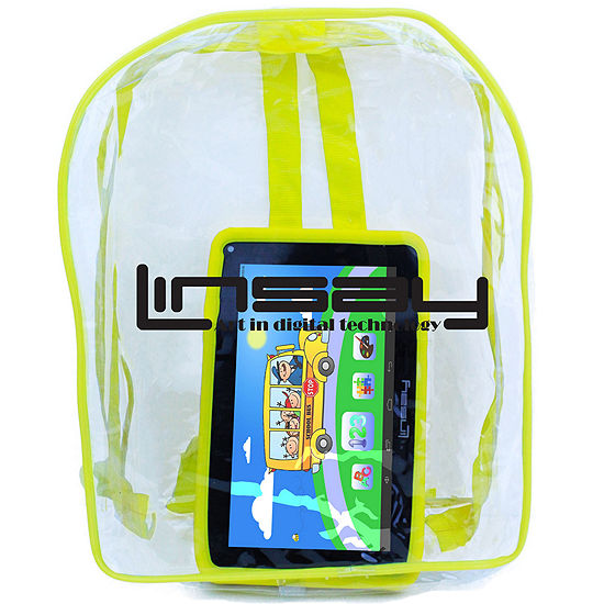 "LINSAY 7"" Quad-Core 2GB RAM 16GB Android 9.0 Pie Tablet with Yellow Kids Defender Case and Kids Back Pack"
