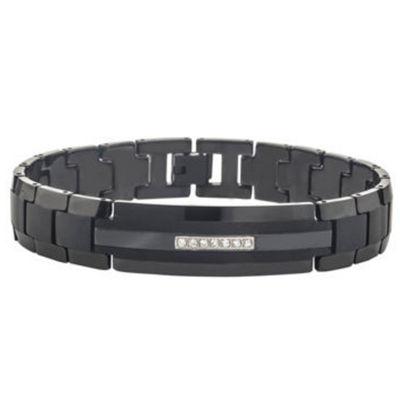 1/10 CT. T.W. Sterling Silver Black & White Diamond Crossover Bracelet