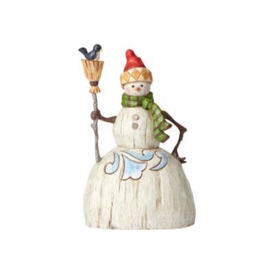 Jim Shore Folklore Snowman With Broom Figurine