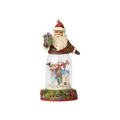 Jim Shore Santa with Christmas Scene Figurine