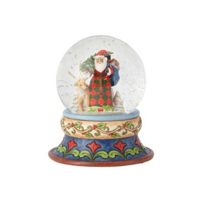 Jim Shore Santa With Deer Snow Globe Waterball