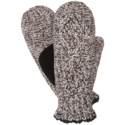 Isotoner Chunky Cable Mitten W/ Sherpa Soft Lining