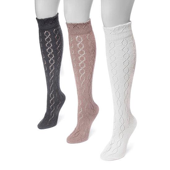 Muk Luks 3 Pair Knee High Socks - Womens